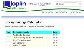 Library Savings Calculator